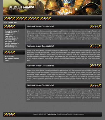 Designing a Professional Clan/Gaming Web Template Result
