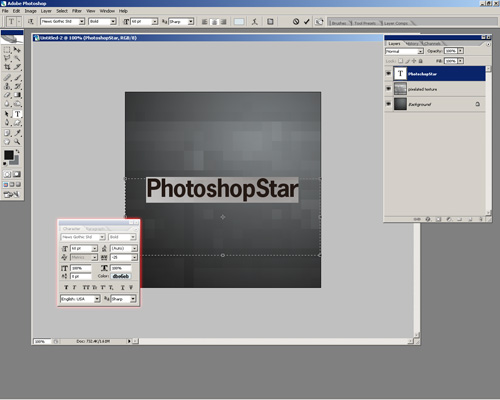 Photoshop Screenshot - Text/Type Effects, Colors, Settings