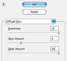 Filter > Distort > Diffuse Glow