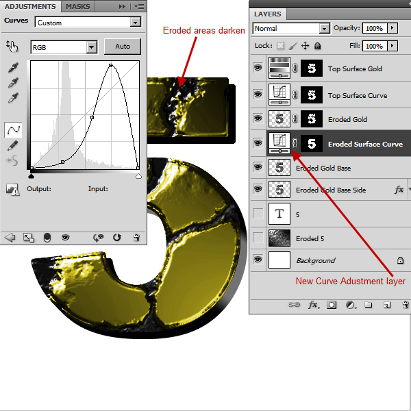 Create an Advanced Eroded Gold Effect 38