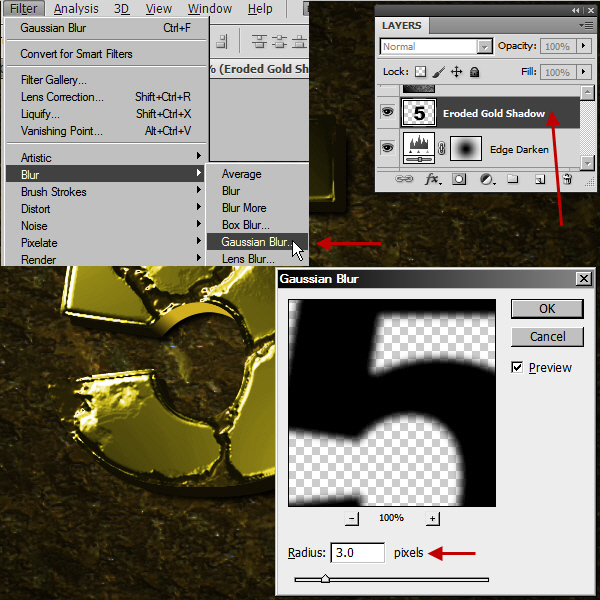 Create an Advanced Eroded Gold Effect 49