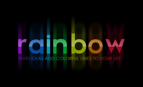 bright rainbow text effect photoshop star