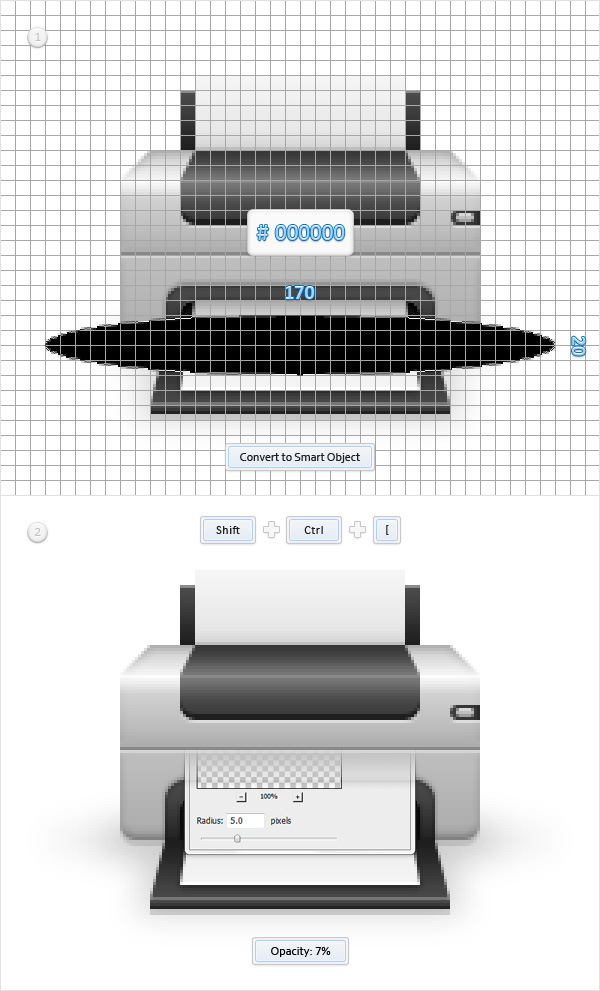 Create a Printer Icon in Adobe Photoshop 22