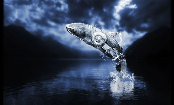 How to Create a Futuristic Jumping Whale in Photoshop