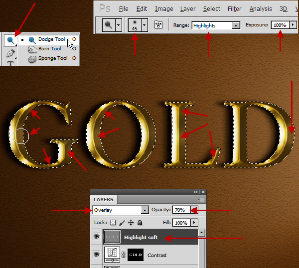 Learn a realistic gold text effect in Photoshop 33