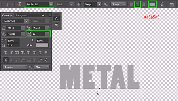 How to Create a Simple 3D Text Metal Effect in Photoshop CS6 step 2
