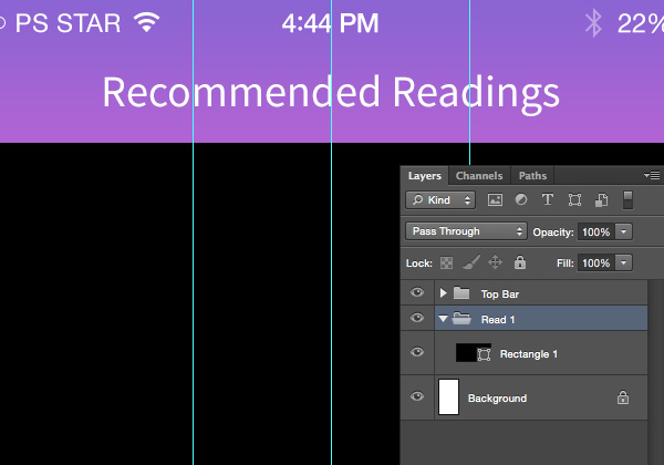 Designing 'Recommended Reading' Mobile App Interface in Photoshop 6