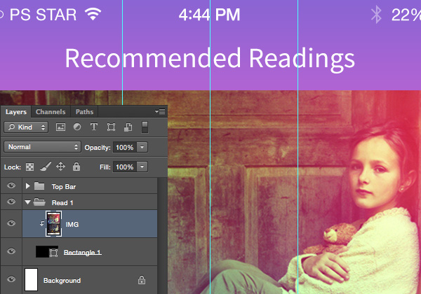 Designing 'Recommended Reading' Mobile App Interface in Photoshop 7