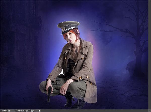 Create a complex Photoshop manipulation of a soldier girl standing in the rain 23