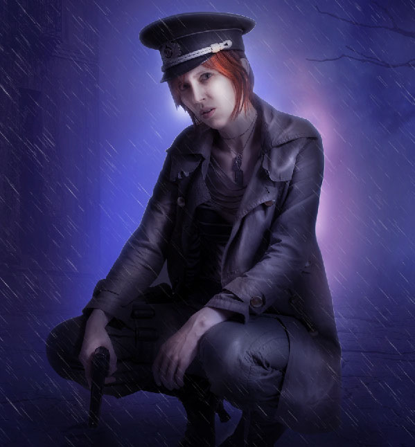 Create a complex Photoshop manipulation of a soldier girl standing in the rain 33