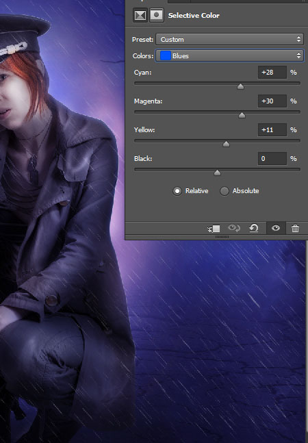 Create a complex Photoshop manipulation of a soldier girl standing in the rain 34