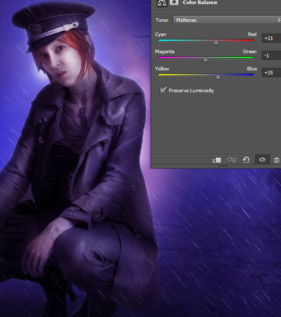Create a complex Photoshop manipulation of a soldier girl standing in the rain 36