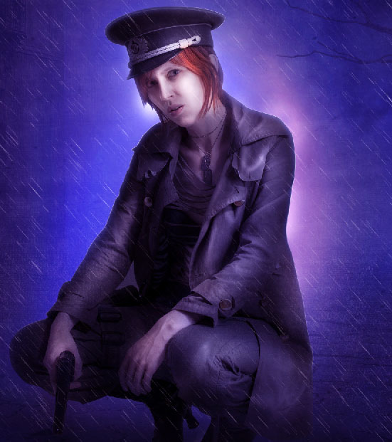 Create a complex Photoshop manipulation of a soldier girl standing in the rain 37