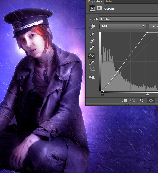 Create a complex Photoshop manipulation of a soldier girl standing in the rain 38