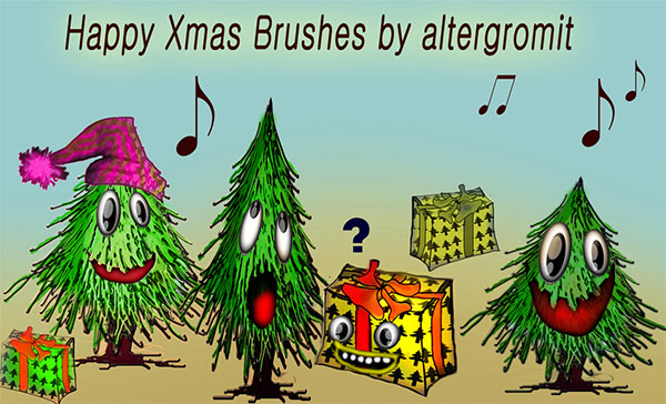 Funny Happy Xmas Brushes